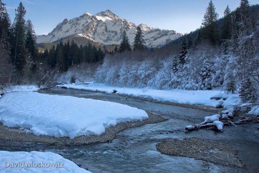 Mount Shuksan and the north fork of the Nooksack river.North Cascades, WA.