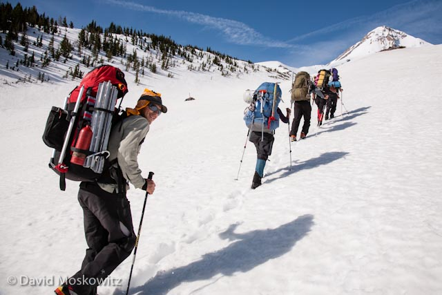Heading up towards our camp on Mount Hood.