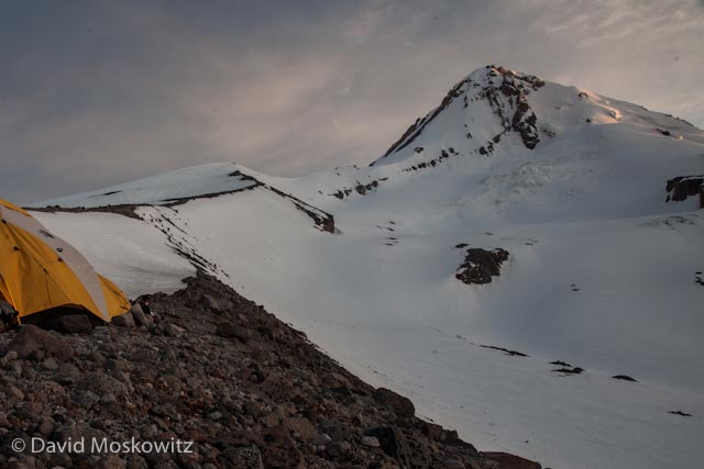 Our camp on the moraine above the Elliot Glacier on Mount Hood
