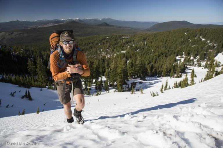 Jay Simpson nears to top of a pass in the Oregon Cascades.