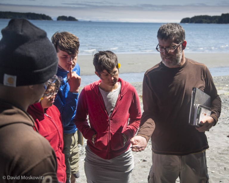 Dr. Murphy explains the identity of a crab found in the intertidal zone close to Fort Rupert, British Columbia.