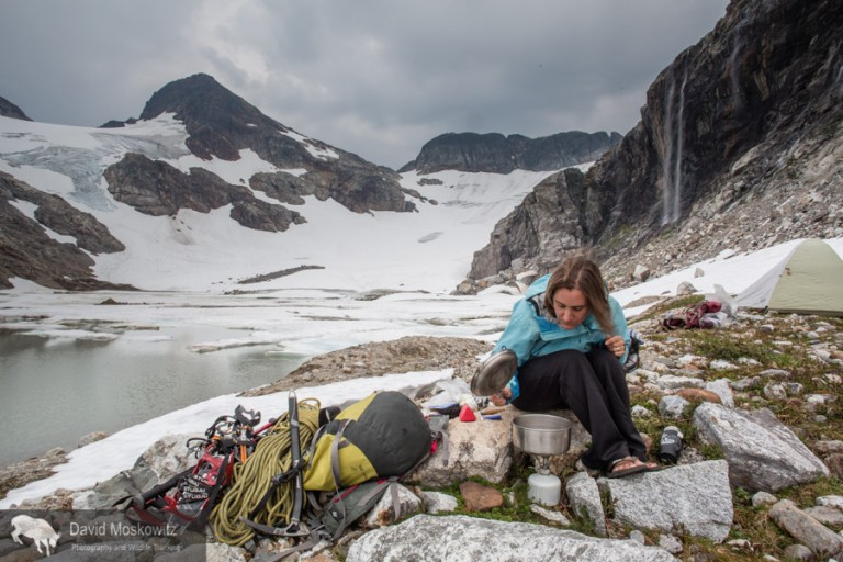 Camp on the edge of the recently formed lake at the terminous of the Colonial glacier.