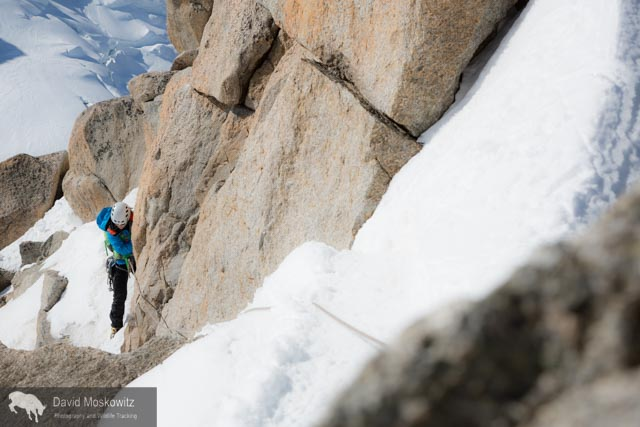 Erin navigating fresh snow on the Cosmiques arete, a classic climbing route on the west side of the Aguille du Midi.