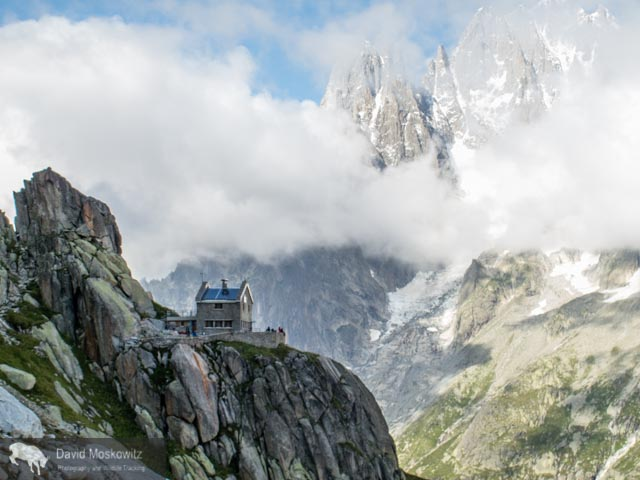Situated in an almost fairy tale like setting, the Envers des Aguilles Hut, managed by the French Alpine club provides lodging and food for climbers.