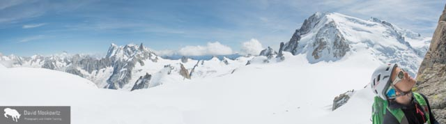 The view from a belay stance on the route. Mount Blanc in the background.