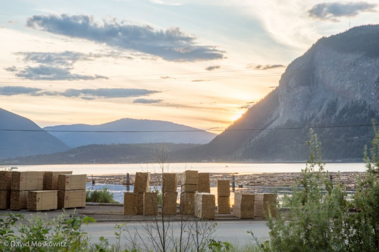 The likely destination of the logs cut in the landscape above. Stacked lumber with floating logs beyond them close to Salmon Arm, British Columbia