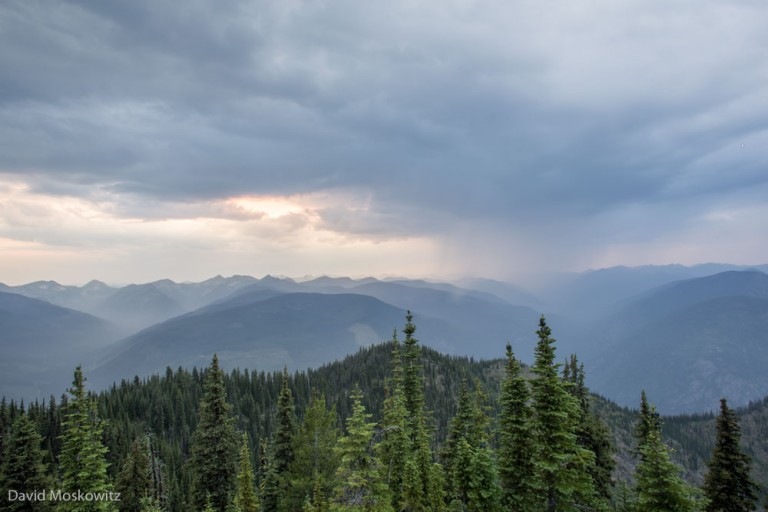 Thunderstorm over the Darkwoods Conservation Area in the Selkirk Mountains of British Columbia