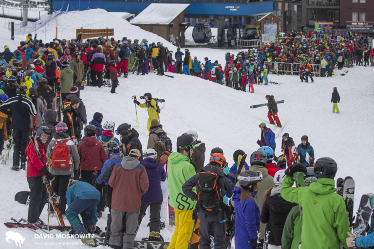 The long line waiting for the start of the ski lifts at Revelstoke Mountain Resort. The line was twice this long before the lifts started, as people wait for access to fresh high-mountain powder.
