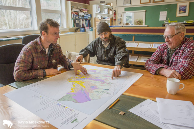 Erik Leslie (left), the forester for the Harrop-Proctor Community Forest, and two board members look over a map of the region they are responsible for managing.