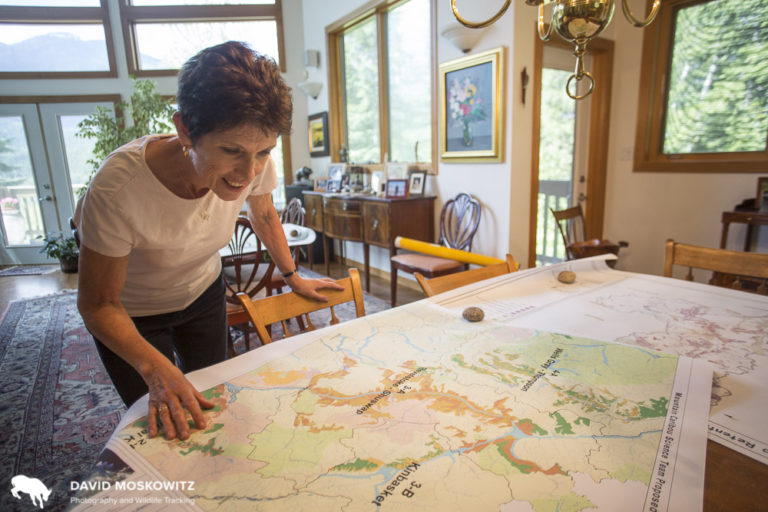 Virginia Thompson in her home with caribou maps. Revelstoke BC