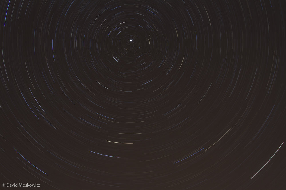 Stars circling around Polaris, the North Star.