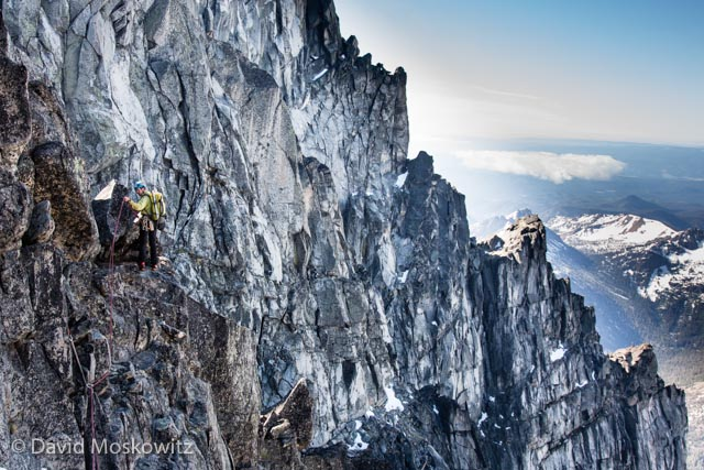 The route to the summit finishes on the West ridge; beautiful granite and stunning exposure.