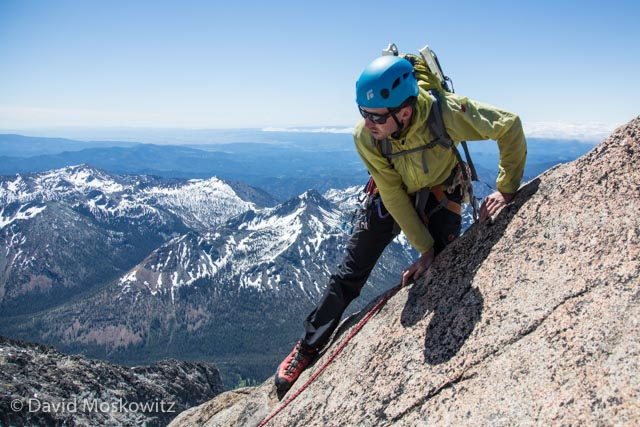 Joel Reid tops out on the summit of Mount Stuart.