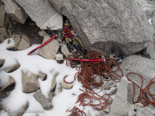 After the lightning passed we retrieved our metal climbing gear from under a blanket of hale at the base of the route and retreated down the ridge.