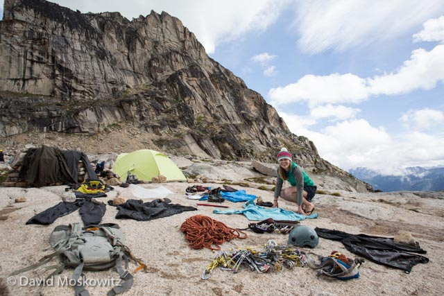 Erin Smart laying out gear to dry out after the storm in the Bugaboos.