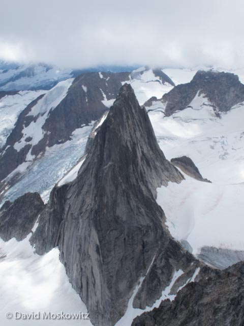 Looking down on Snowpatch Spire from close to the summit of Bugaboo Spire.