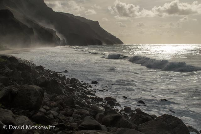 Waves role in on Kalalau Beach, reached by an 11 mile trail.