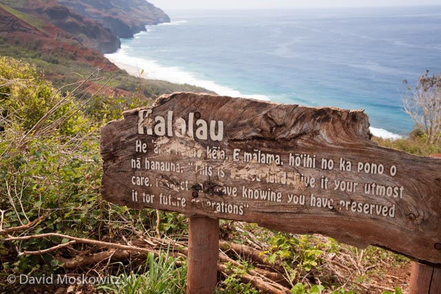 Sign along the trail into Kalalau beach.
