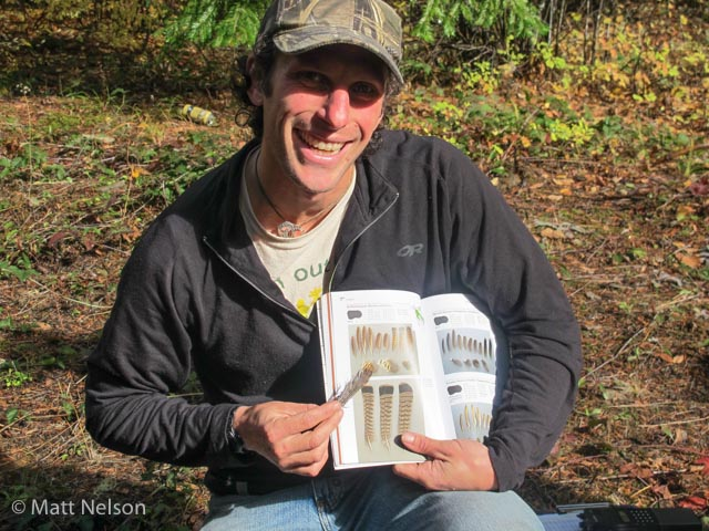 Matt Nelson photographed me leading a discussion on the identification of a collection of feathers from a Ruffed grouse found on the side of a forest road. David Scott (Track and Sign Specialist) and Casey McFarland (Specialist and Evaluator for Cybertracker Conservation) are the authors of the excellent resource pictured here,  Bird Feathers: A Guide to North American Species.