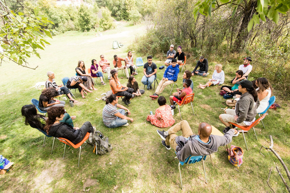 Much of the gathering was spent in talking circles, exploring issues of community, healing, and the work of youth initiation. In this group, younger members of the gathering were invited to sit in the center and share their experiences and challenges with coming of age in the modern world and be witnessed by the rest of the group.