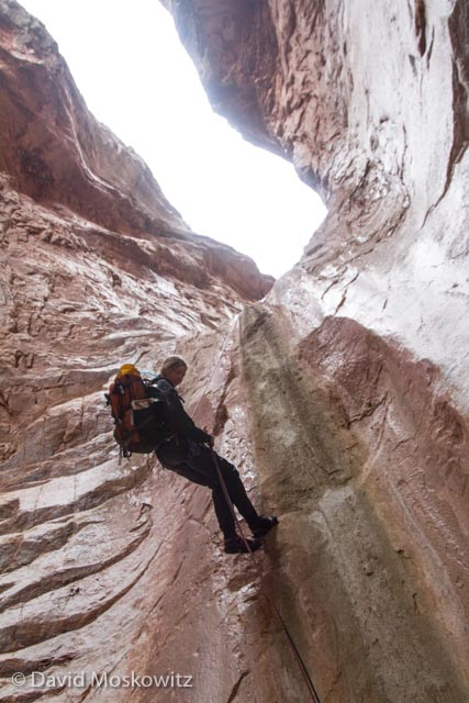 Stephanie Williams descending a step section of limestone. Cove Canyon, Arizona.