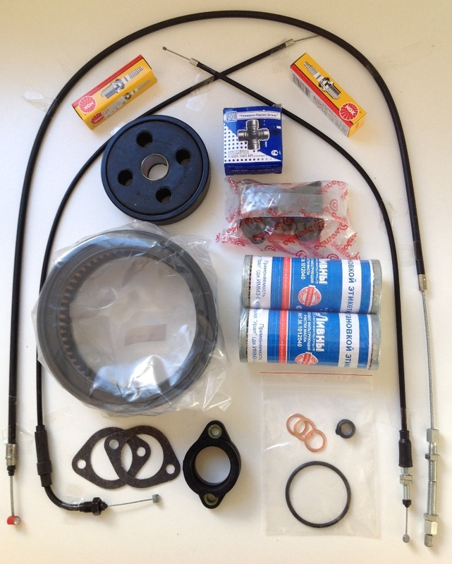 Adventure Spare Parts Pack models to 2013: Oil Filters with Filter Insert Bushing, Oil Filter Sealing Ring, Crush Washers, Donut, Clutch Cable, Throttle (upper and lower) Cable, Spark Plug, Drive Shaft Uni-Joint, Air Filter, Front Brake Pad Set, Carby Flange, Flange Gasket