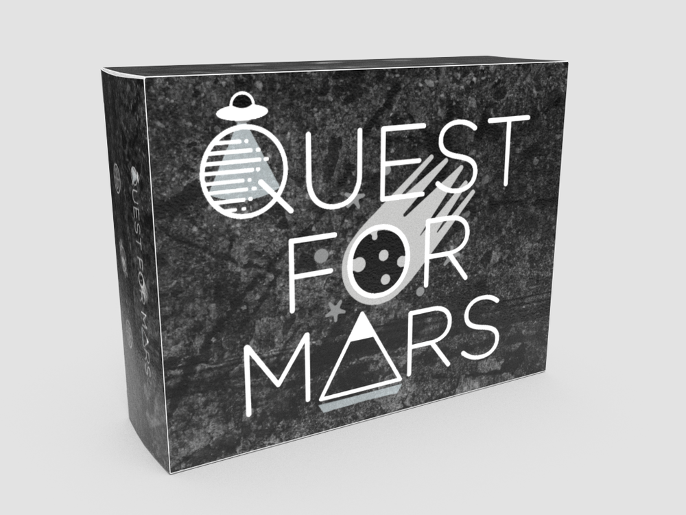 Digital mock-up of the box art that will be shipped with printed copies of  Quest for Mars .