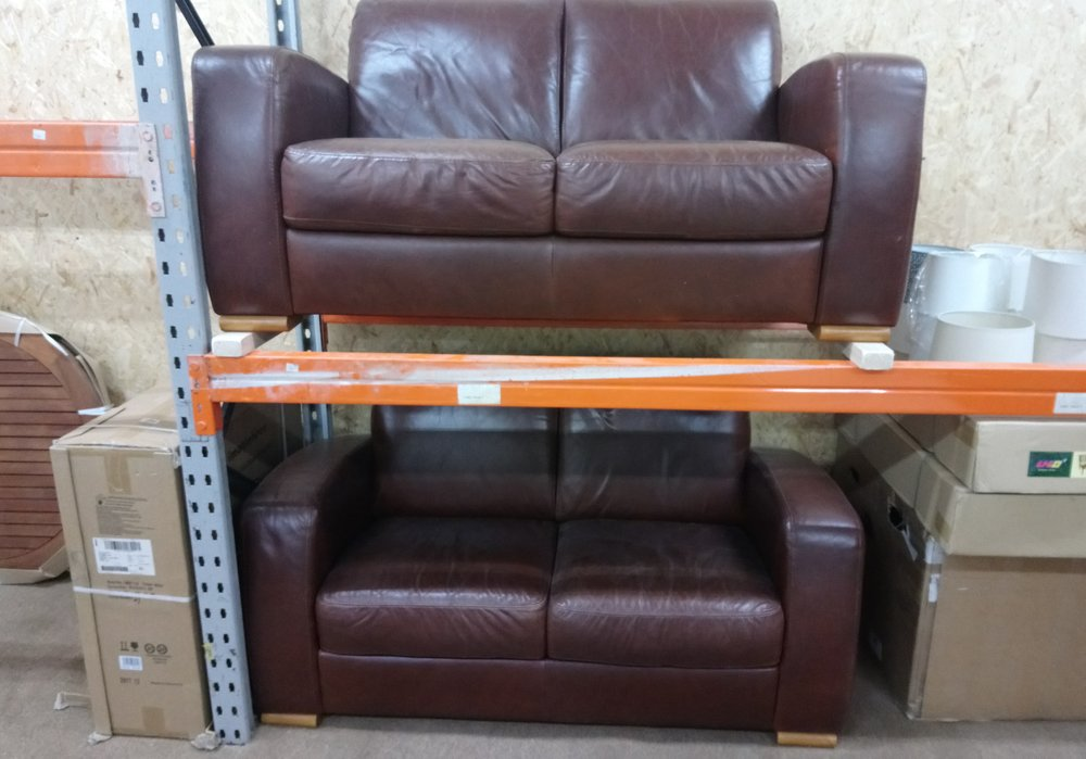 Brown Real Leather Sofa From John Lewis Set Of 2 Seaters