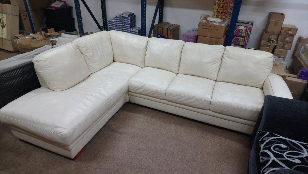 Italian Designer Leather White Corner Sofa Set ( Used) RRP £3050