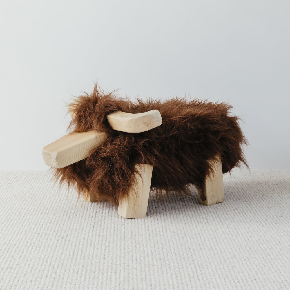 """I am now the proud owner of 'Hamish the Highland Cow', a foot stool handmade by @tinkebucornwall The craftsmanship is spot on and the simple design is elegant and shows quality. Great customer service. Thank you."""