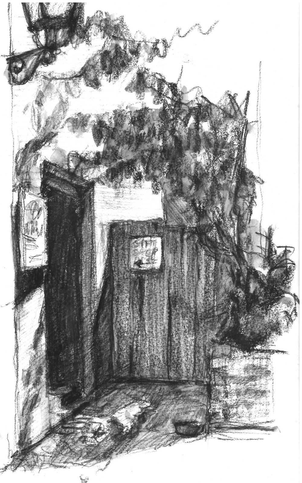 Sketch of the doorway across Aviles Street while waiting for breakfast at La Herencia Cafe in St. Augustine.
