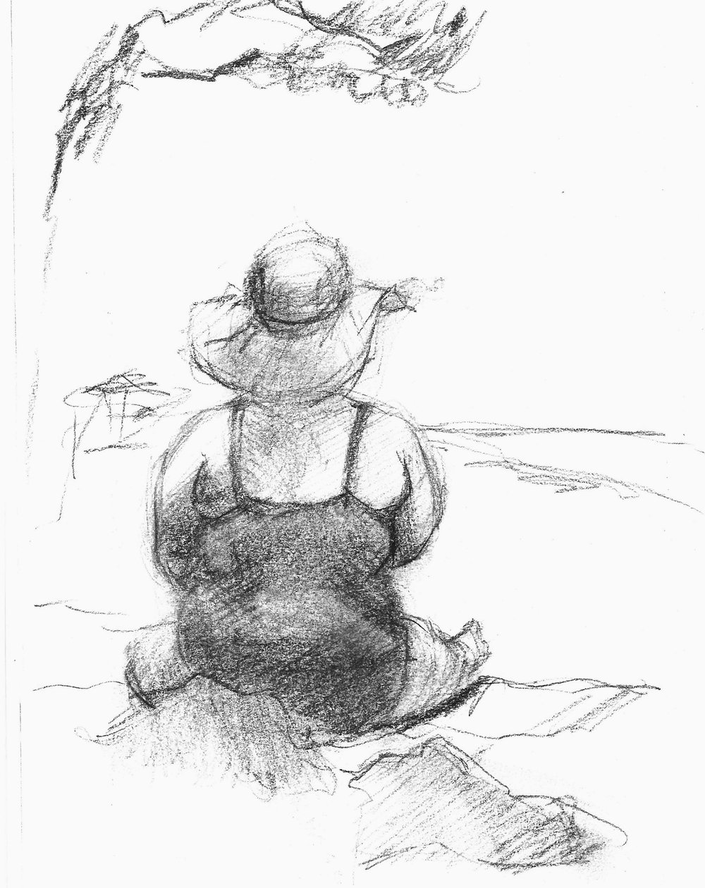Beachgoer on Anna Maria Island. Nobody is safe when I have my sketchbook.