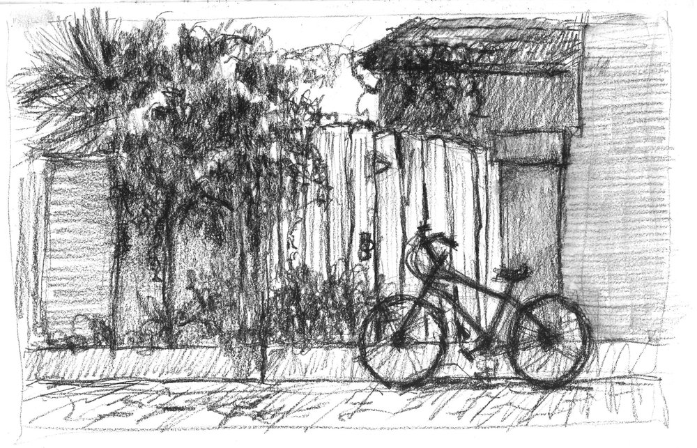 Joel's bike parking across the street from the Aviles Street Gallery in St. Augustine.