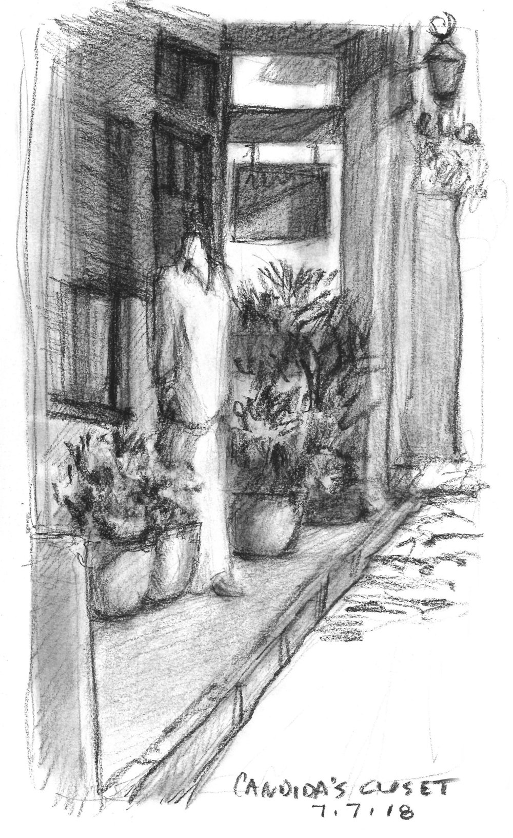 Sketch of other businesses sharing the buildling which houses Aviles Street Gallery in St. Augustine. Done while sitting in the street (it was closed down)