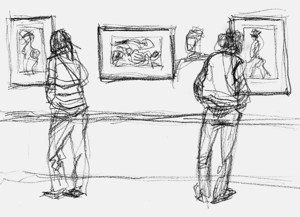 At the Schiele exhibit at the Boston Museum of Fine Arts last year…of course, lots of people stopping to look closely at his nudes.