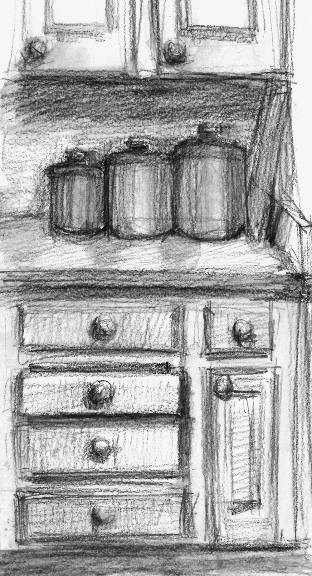 I don't like drawing straight edges so that is why I draw them. Plus that one drawer being a little open was oddly unsettling