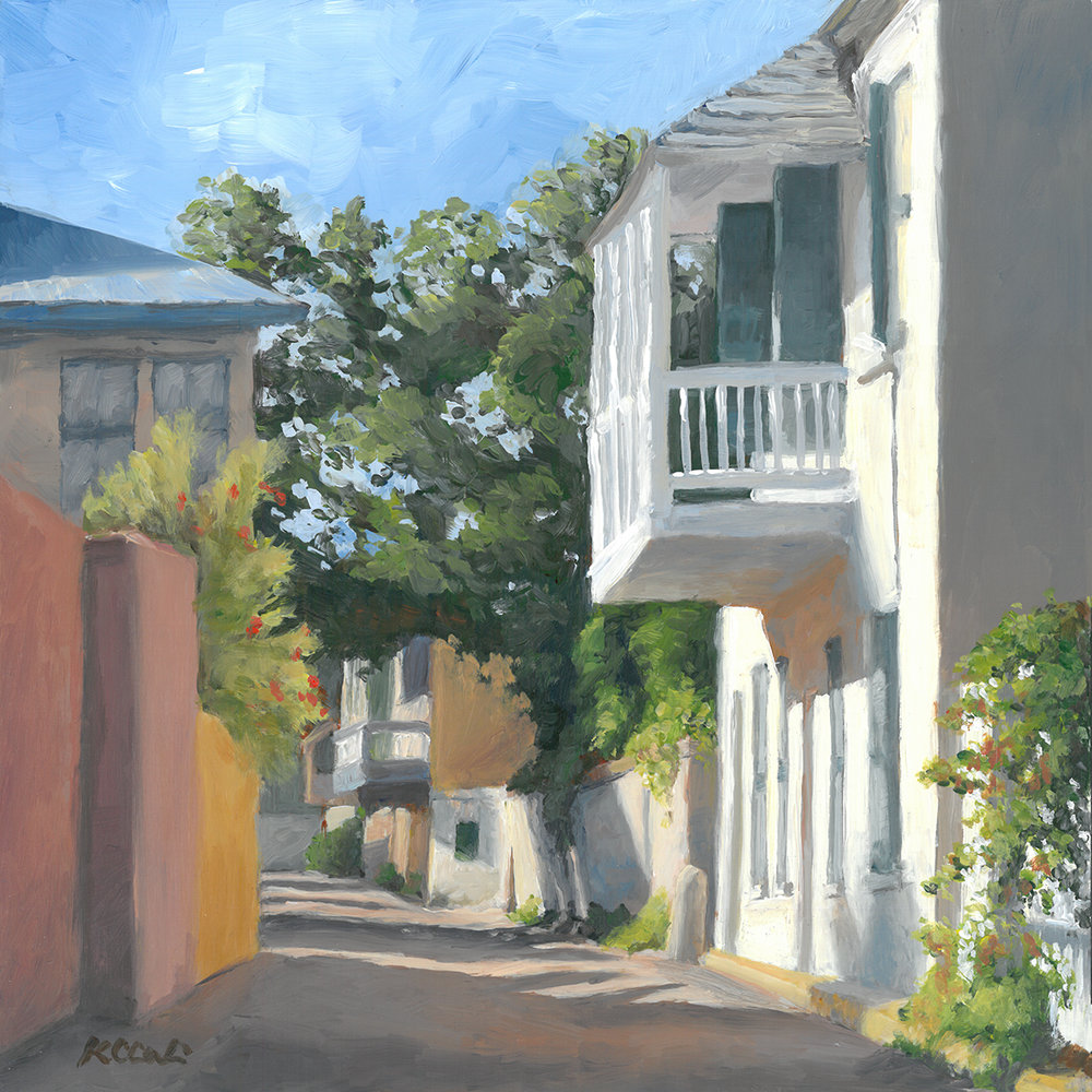 """Looking South on Aviles Street     12"""" x 12""""   acrylic on panel   SOLD       PRINTS     AVAILABLE  contact me: kc@kccaliartist.com"""