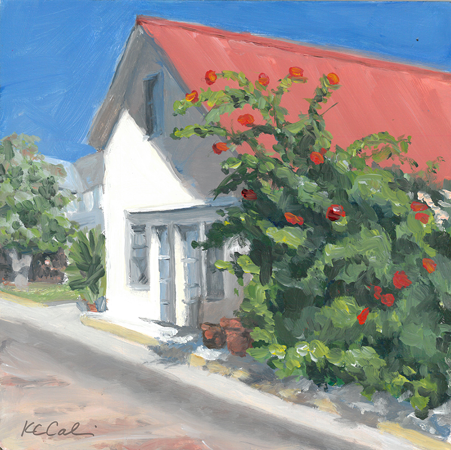 """Red Flowers, Red Roof    6 x 6""""   acrylic on panel    AVAILABLE    Contact me: kc@kccaliartist.com"""