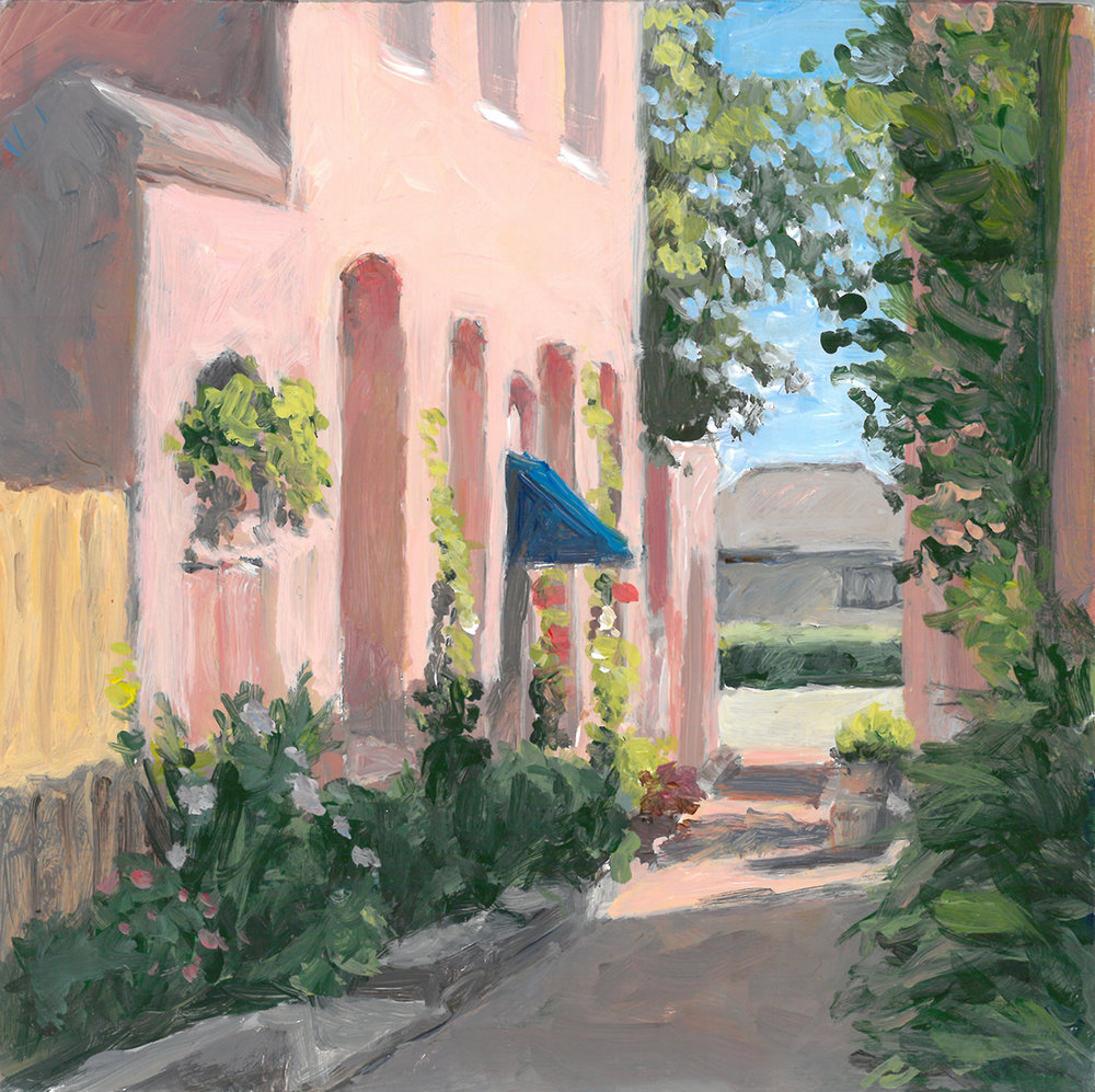 """Summer Morning, Artillery Lane    6"""" x 6""""   acrylic on panel    SOLD       PRINTS     AVAILABLE  contact me: kc@kccaliartist.com"""