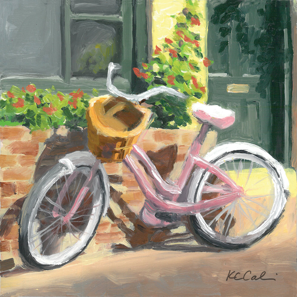 """Pink Bike on Aviles Street       6"""" x 6""""   oil on panel    AVAILABLE    Contact me: kc@kccaliartist.com"""