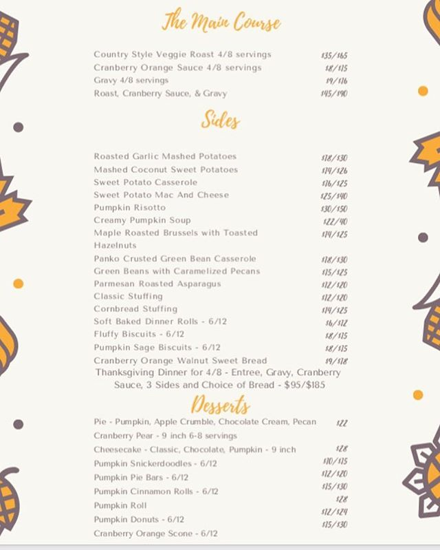 Thanksgiving catering menu preview ❤️🍁 yes I'm skipping RIGHT over Halloween and getting to the good stuff!😅 This is my favorite time of year and I would love to be a part of your celebration! 🤗 Everything on the menu is completely vegan and most items can be made gluten free. Accepting preorders through 11/19! I will be posting this to my website as well, you can place an order there or through email! What are you looking forward to most this Thanksgiving?!🍂 #prettysweeteats