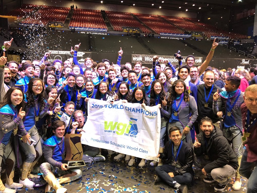 Celebrating a gold medal performance at the 2018 WGI World Championships.
