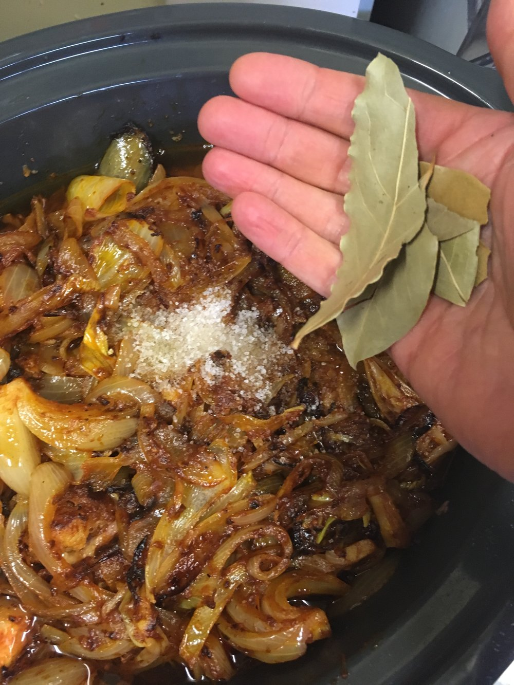 - ...add bay leaves (optional: thyme, parsley, rosemary, 1 or 2 cloves)