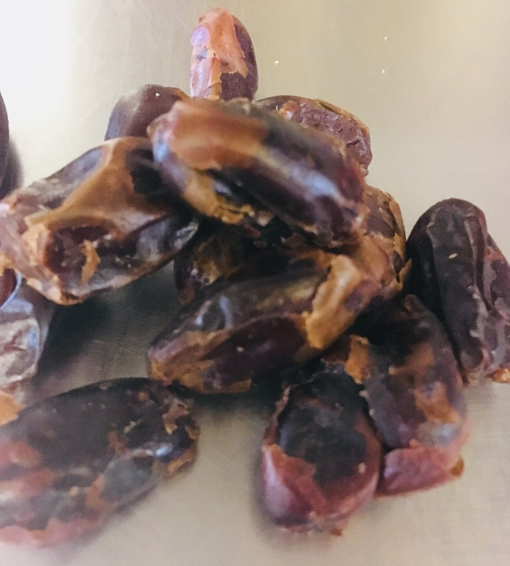 Pitted dates - Soak the dates in boiled water and add bicarb