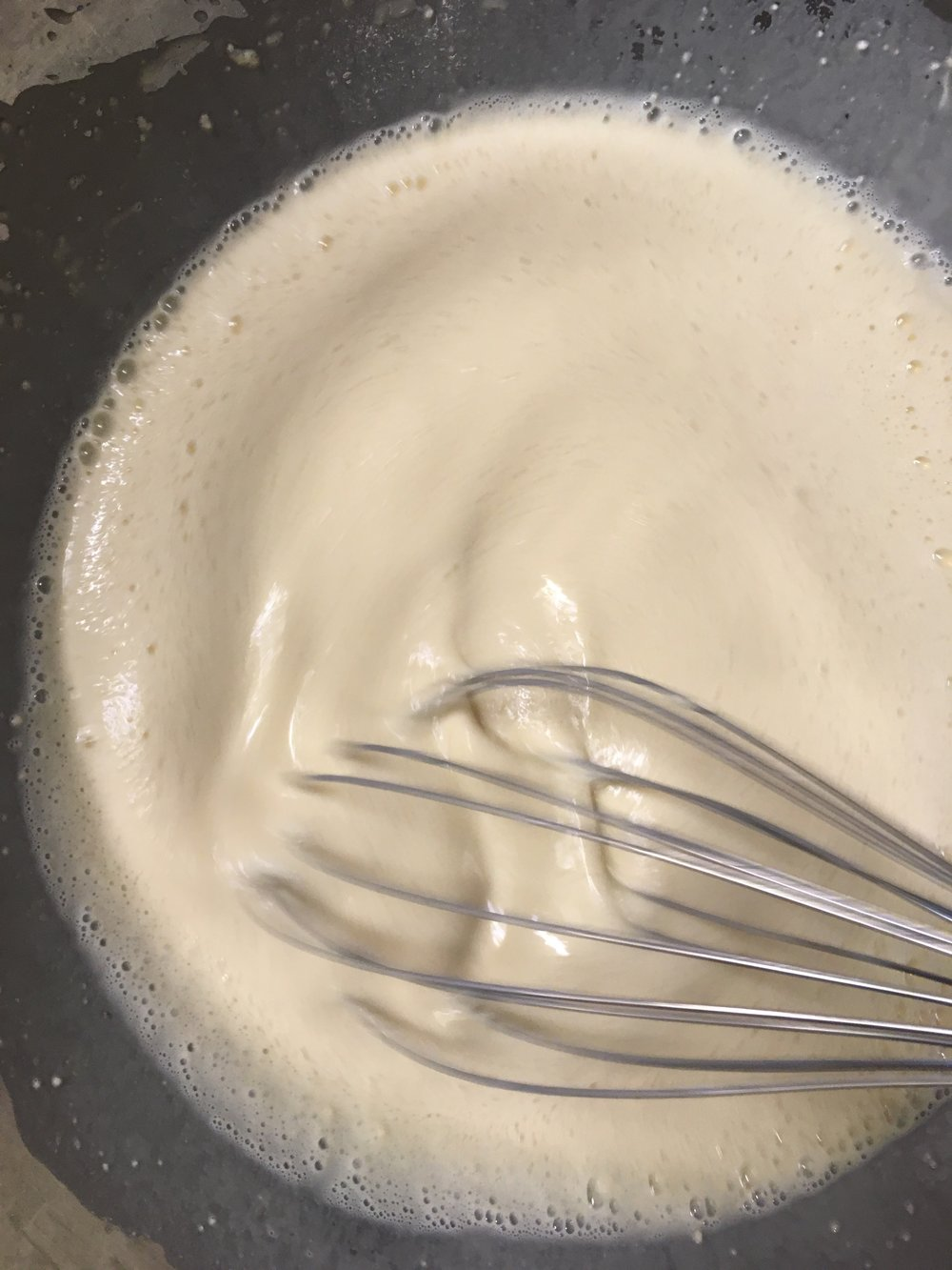 - ...and it has the consistency of thick cream or crepe batter. Runny.