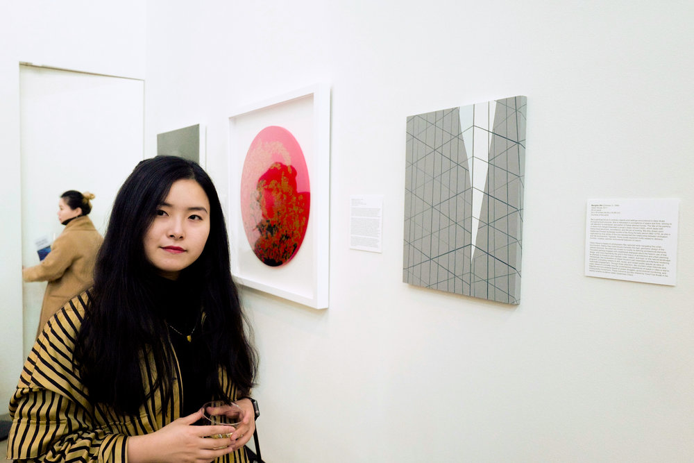Mengfan Bai alongside her work,   Glass House   at the Nova Prize Exhibition held in HRY Space.