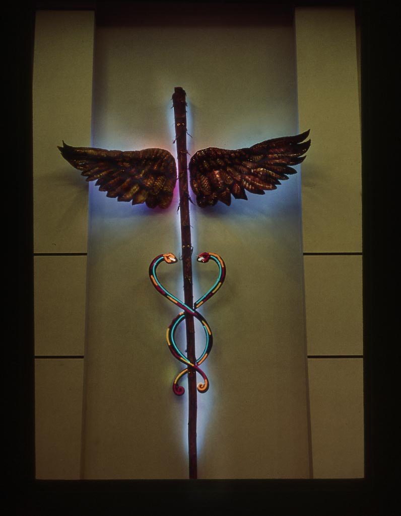 Internationally acclaimed light artist and NEA Fellow, Ben Livingston, creates neon, copper and Agave Caduceus sculpture as public art for South Texas Hospital. -