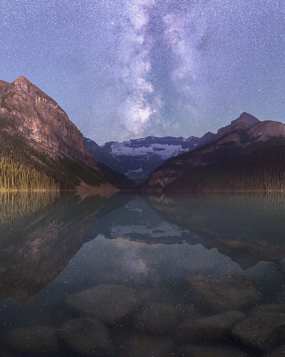 Lake Louise aligns perfectly with the stars.