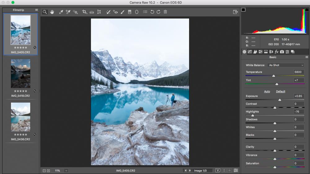 Moraine Lake in Adobe Camera Raw