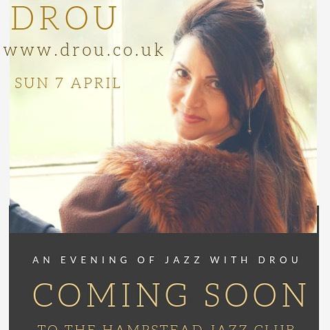 Coming soon to @hjcjazzclub British born Greek-Cypriot Jazz Songstress Drou brings vocal hints of Eastern flavour to Iconic Jazz & Contemporary Classics!  Tickets will be on sale soon for SUN 7 APRIL! @lateralizeltd @hellenic_tv @londonjazznews @londongreekradio @jazzwisemagazine @jazztimemagazine @jazzlondonlive @timeoutlondon @helleniccentre_w1  @belsizepark @pierrepetrou1 @greekmusic_official @greek_theatre @greek_concert_status @greekmusiclovers @greekreporter @jazzupuk #musicians #femalesinger #jazzy #hampsteadheath #livemusic #jazzlive #livejazz #jazzclub #jazznight #greek #greekcypriot #timeoutcyprus #cyprus #greece #french #spanish #portuguese